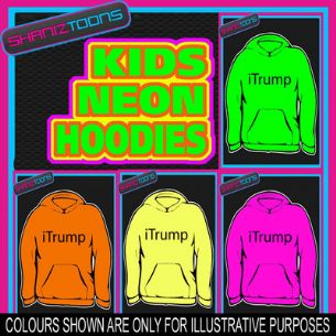 I TRUMP FUNNY FART FARTING PASSING WIND NEON  ELECTRIC KIDS CHILDS HOODIE HOODY